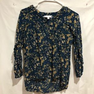 Lauren Conrad ruffled floral long sleeve size XS